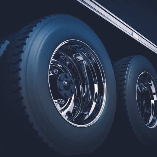 Semi Truck Tractor Wheels Closeup 3D Render Illustration
